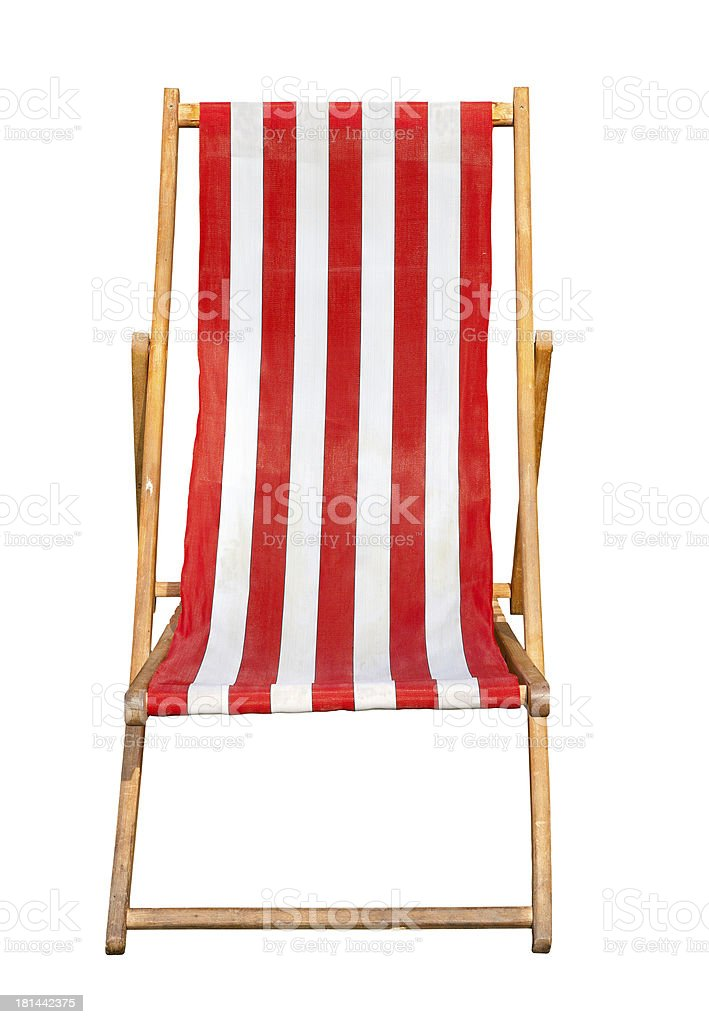 Red and white striped canvas deckchair isolated stock photo