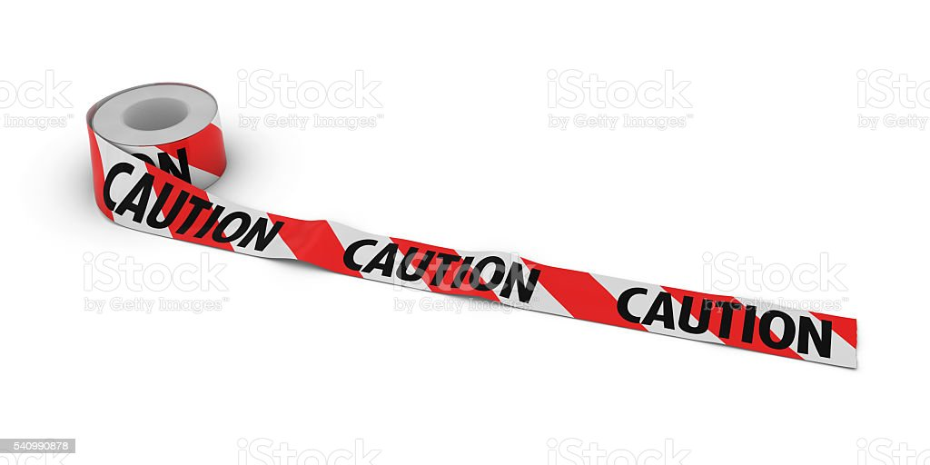 Red and White Striped CAUTION Tape Roll unrolled across floor stock photo