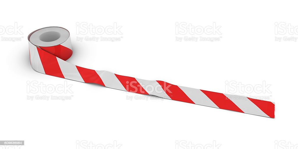 Red and White Striped Tape Roll unrolled across white floor stock photo