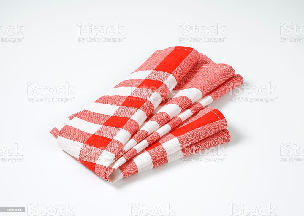 Red and white stripped table mat stock photo