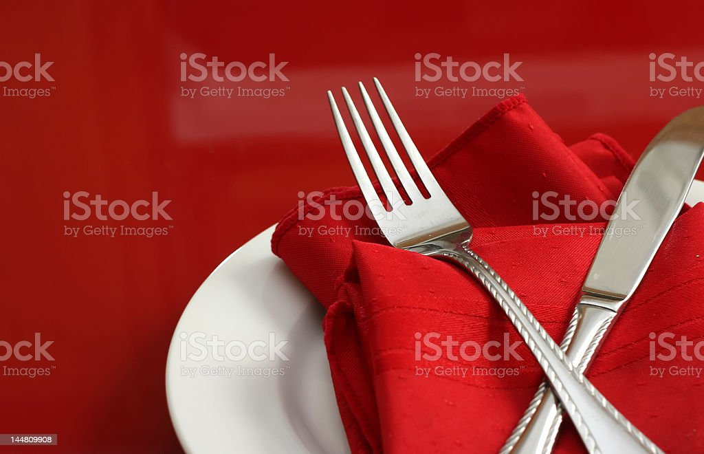 Red and White Table Setting royalty-free stock photo