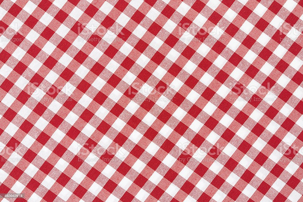 Red and white tablecloth diagonal design stock photo