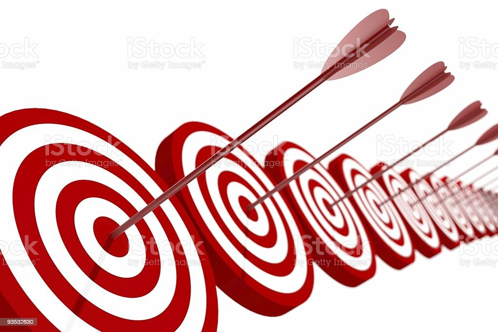 Red and White target with arrow royalty-free stock photo