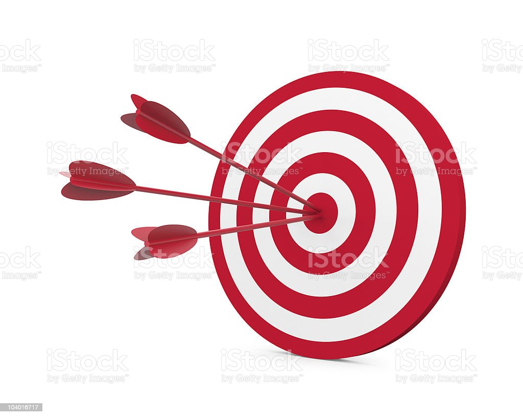 Red and White target with three arrow stock photo