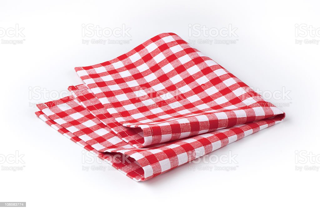 Red and white tea towel stock photo
