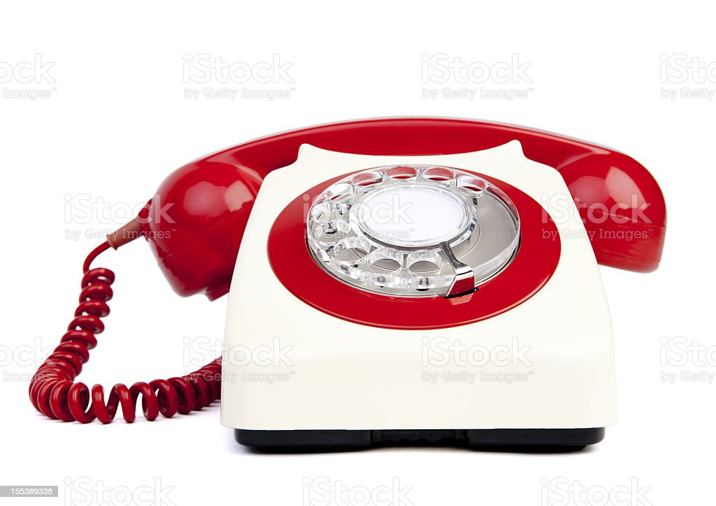 Red and white telephone royalty-free stock photo