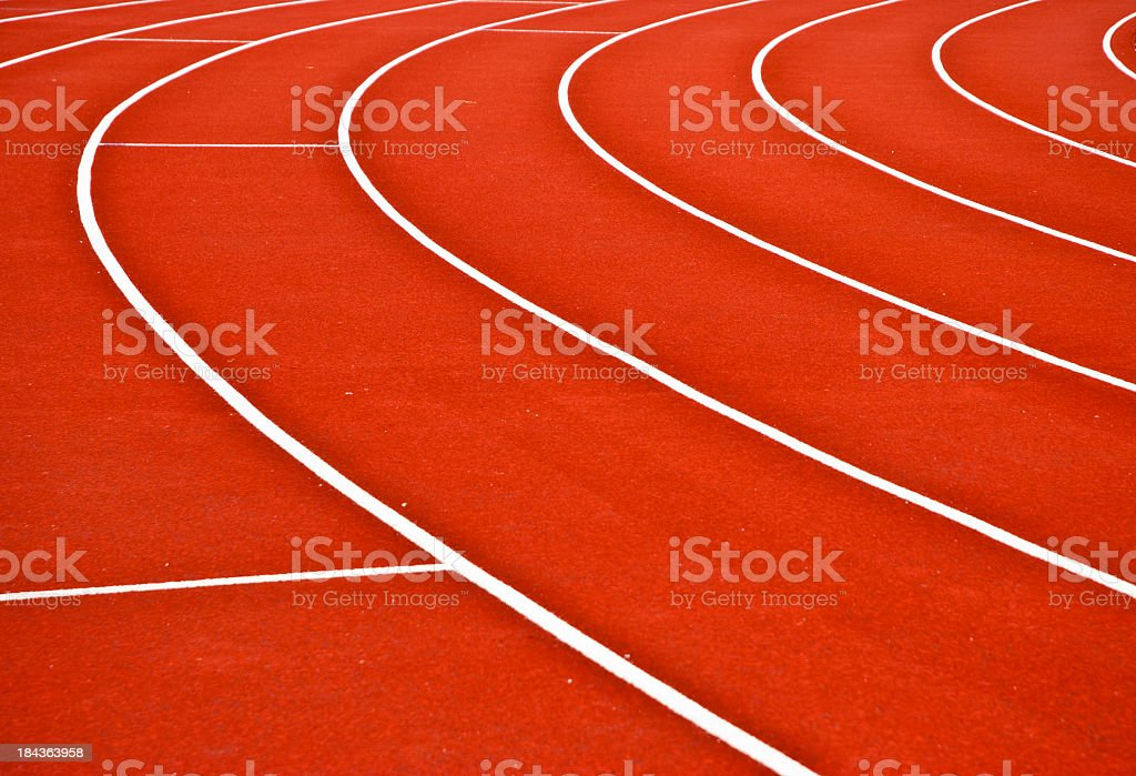 Red and white track for running royalty-free stock photo