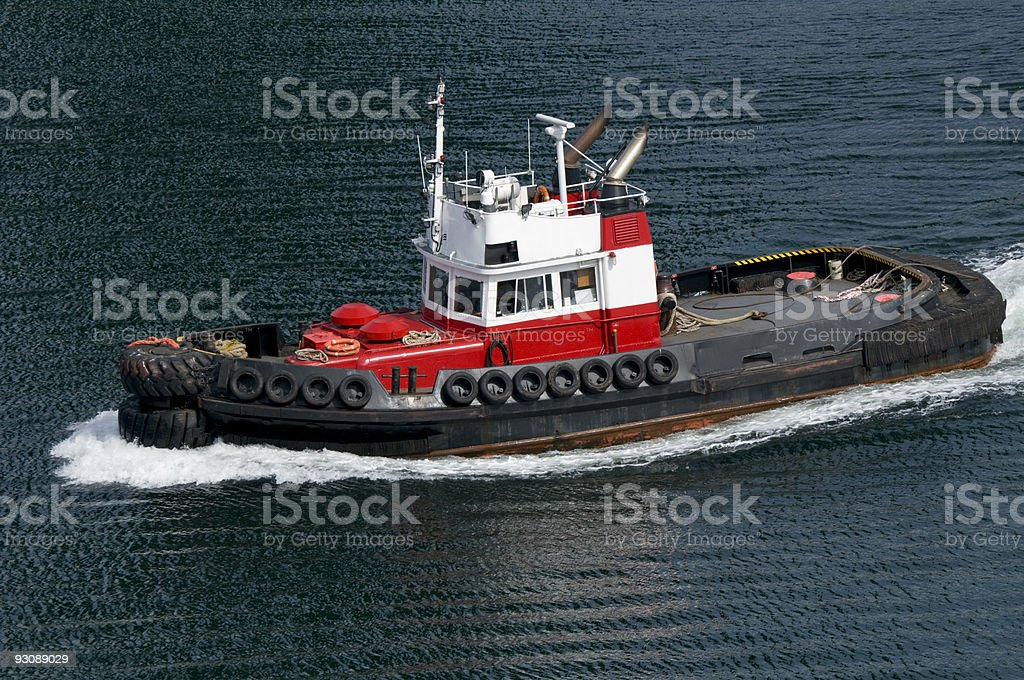 Red and White Tug royalty-free stock photo