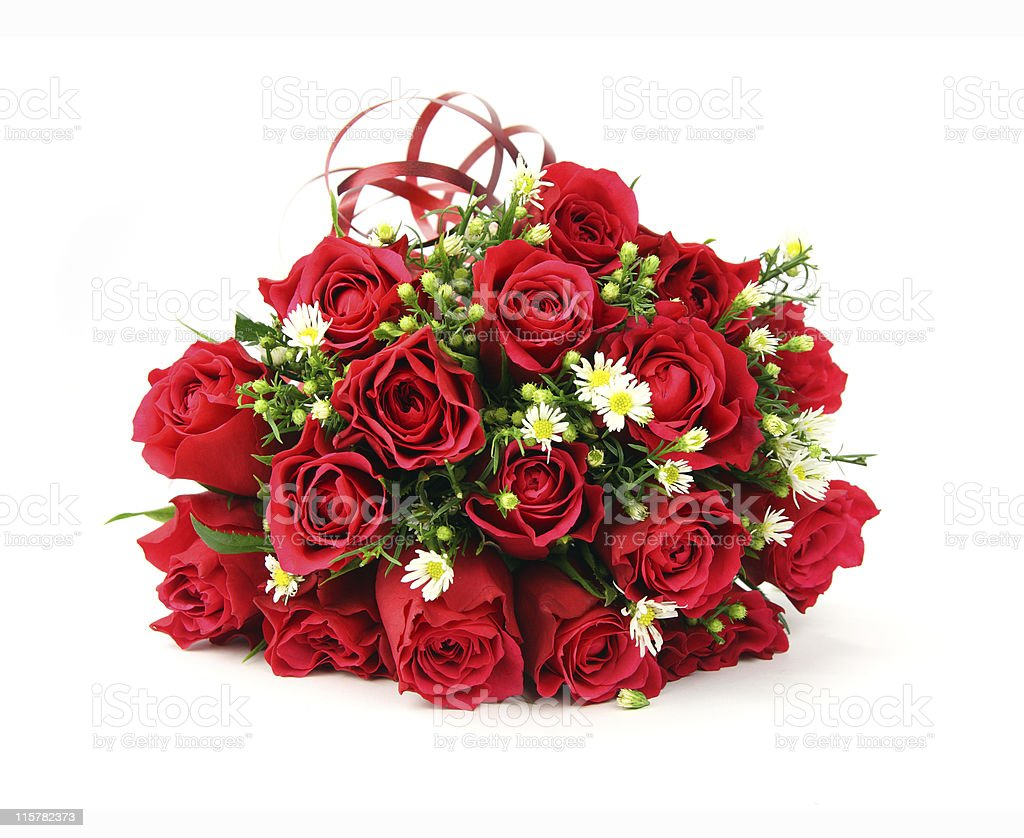 Red and white valentines or wedding bouquet royalty-free stock photo