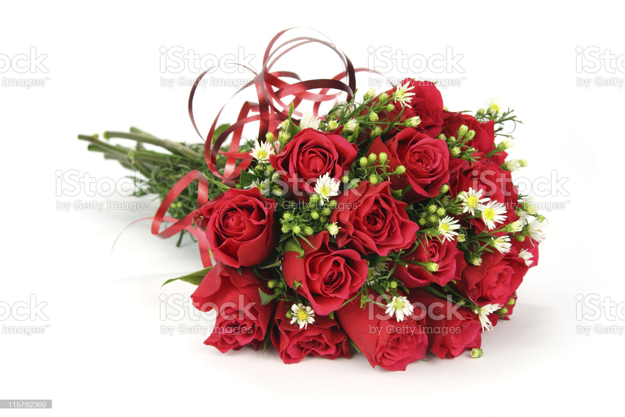 Red and white valentines or wedding rose bouquet royalty-free stock photo