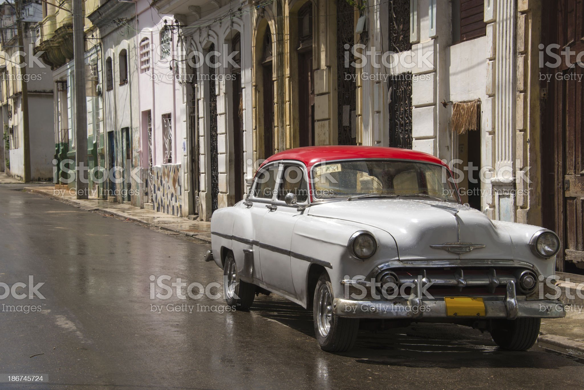 Red and White Vintage Car royalty-free stock photo