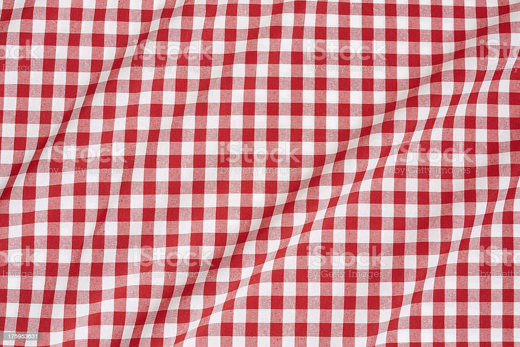 Red and white wavy tablecloth stock photo