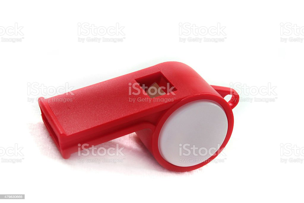 red and white whistle stock photo