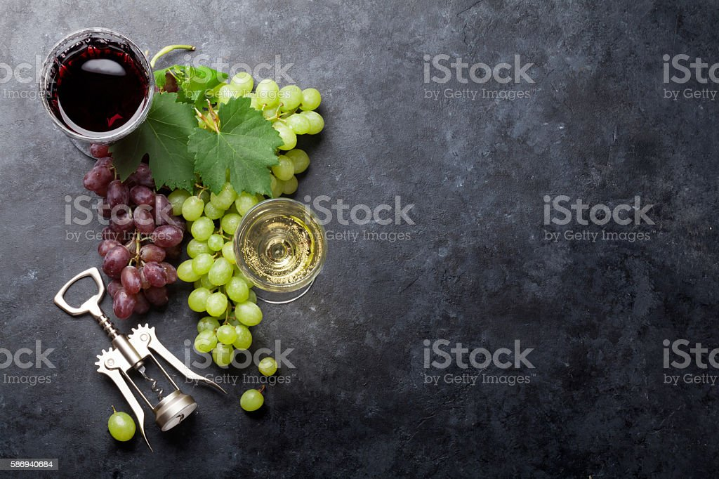 Red and white wine and grape stock photo
