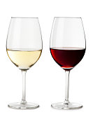 Red and White Wine Glass Isolated on White Background