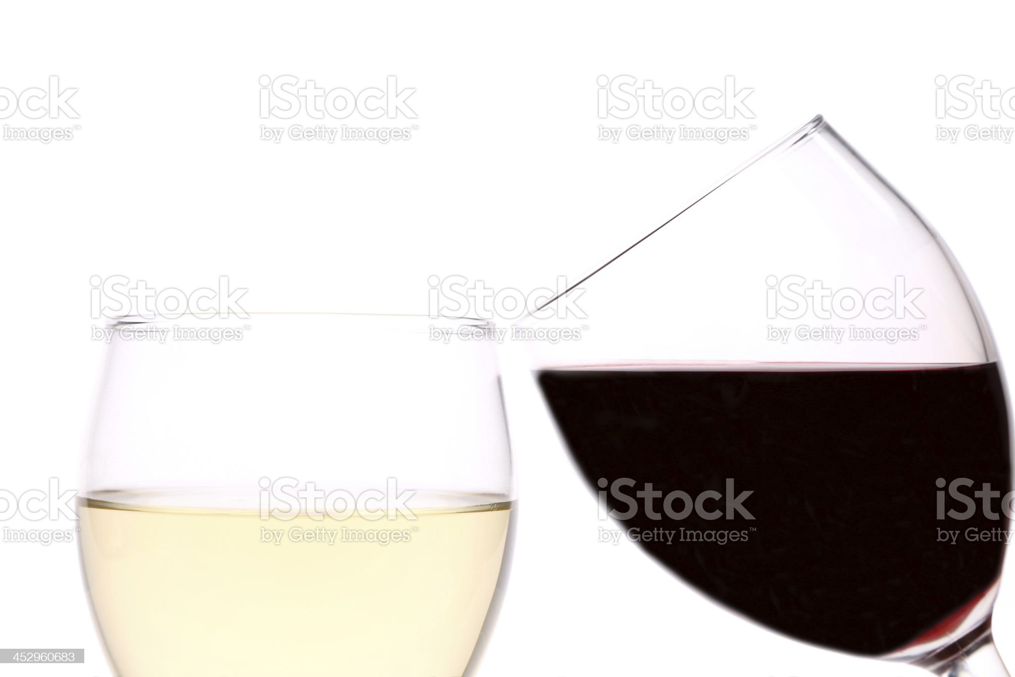 Red and white wine glasses royalty-free stock photo