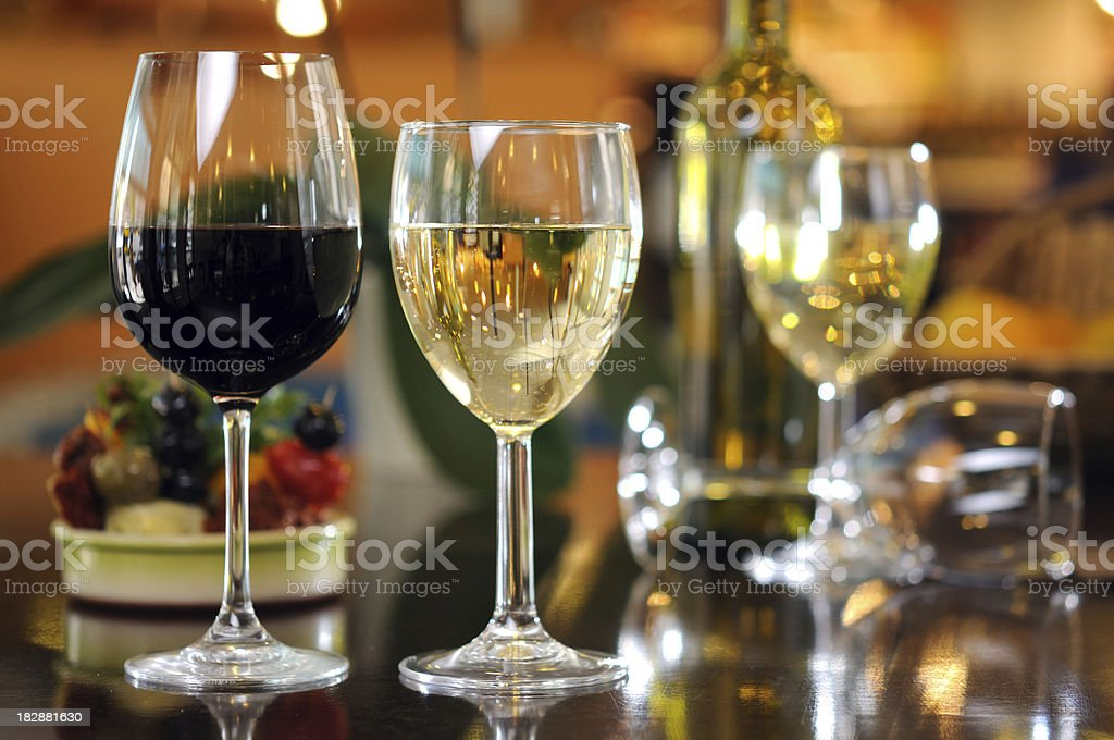 Red and White Wine in Glasses royalty-free stock photo