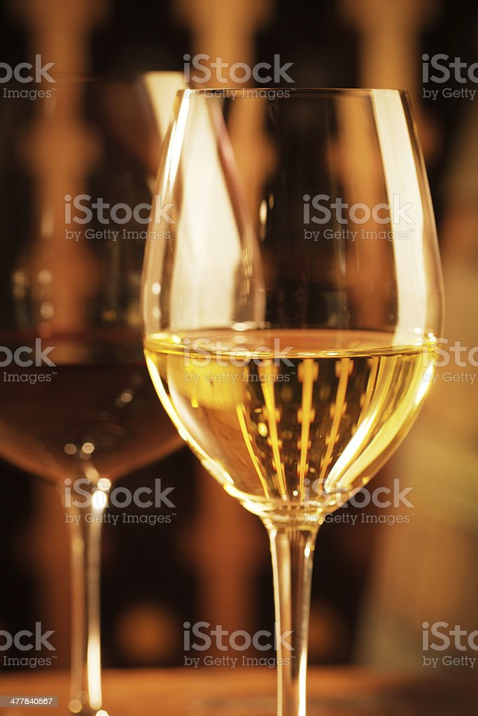 Red and White Wine in the Cellar Vertical royalty-free stock photo