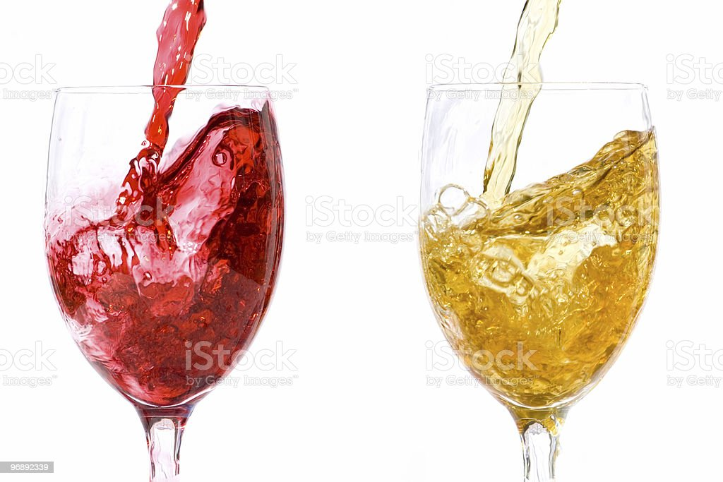 Red and white wine stock photo