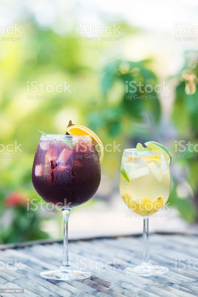red and white wine sangria cocktail drinks outside stock photo