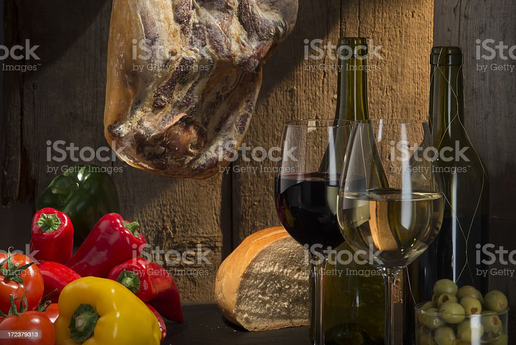 Red and white wine , Spanish style stock photo