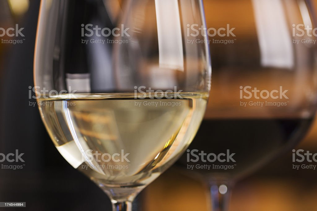 Red and White Wine Tasting Glasses Stemware in Cellar Close-up royalty-free stock photo