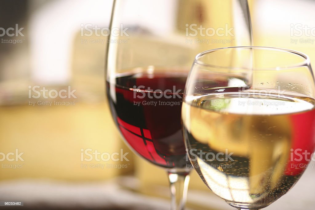 Red and white wine with cheese stock photo
