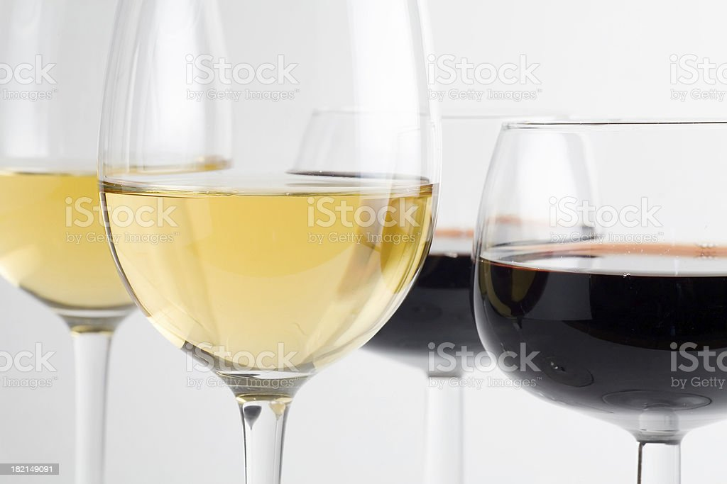 Red and White Wines stock photo
