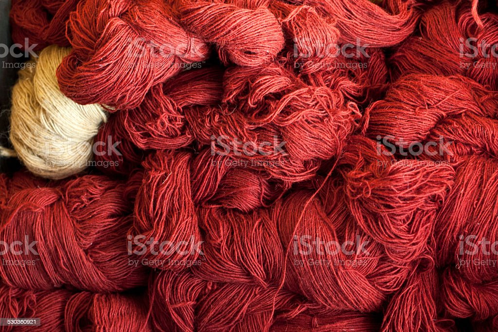 Red and white wools stock photo