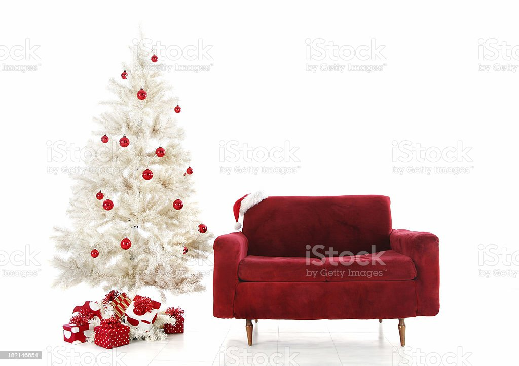 Red and white Xmas set up royalty-free stock photo