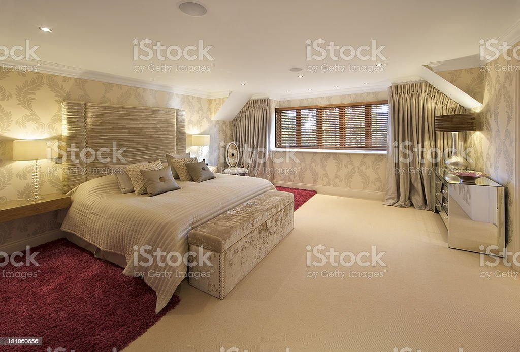 red and yellow bedroom royalty-free stock photo