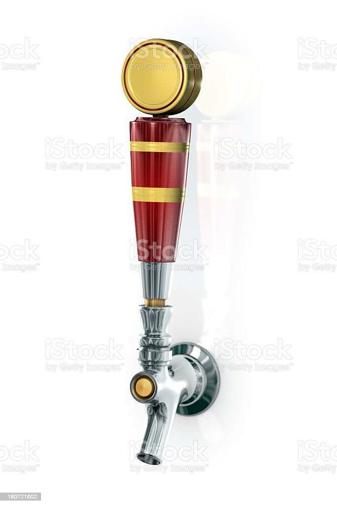 Red and yellow beer tap on white background royalty-free stock photo