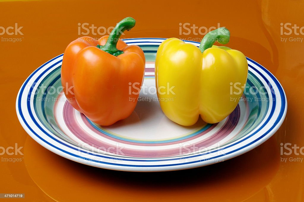 Red and Yellow Bell Peppers royalty-free stock photo