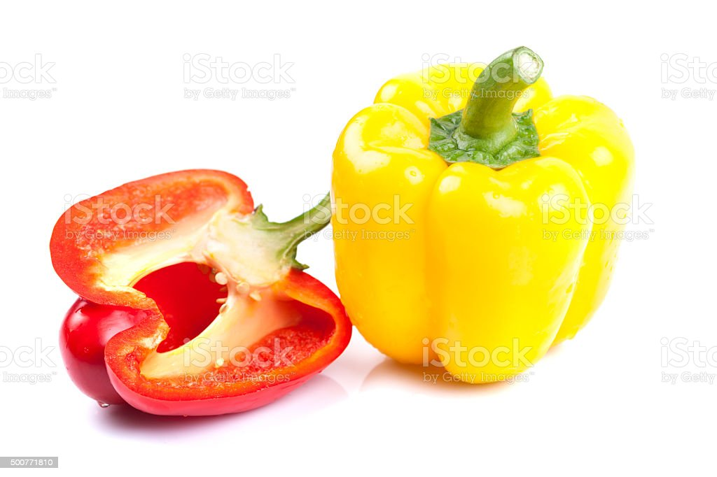 Red and Yellow Bell Peppers stock photo