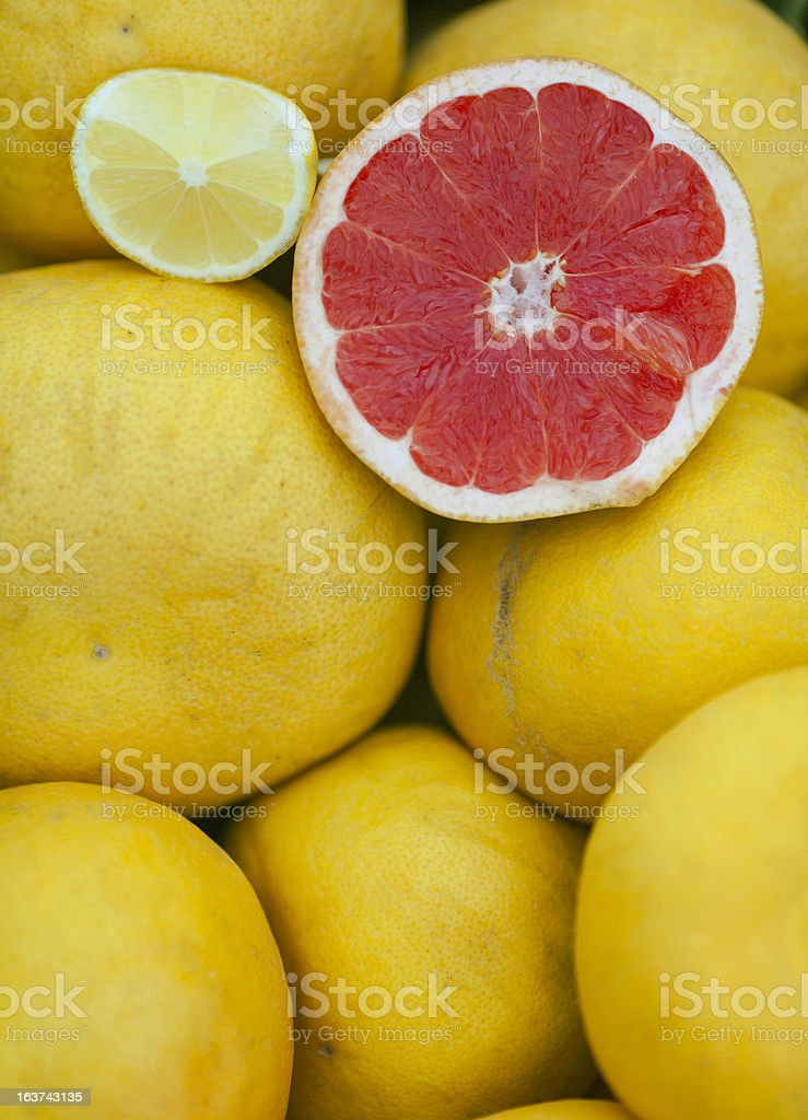 Red and Yellow Grapefruit stock photo