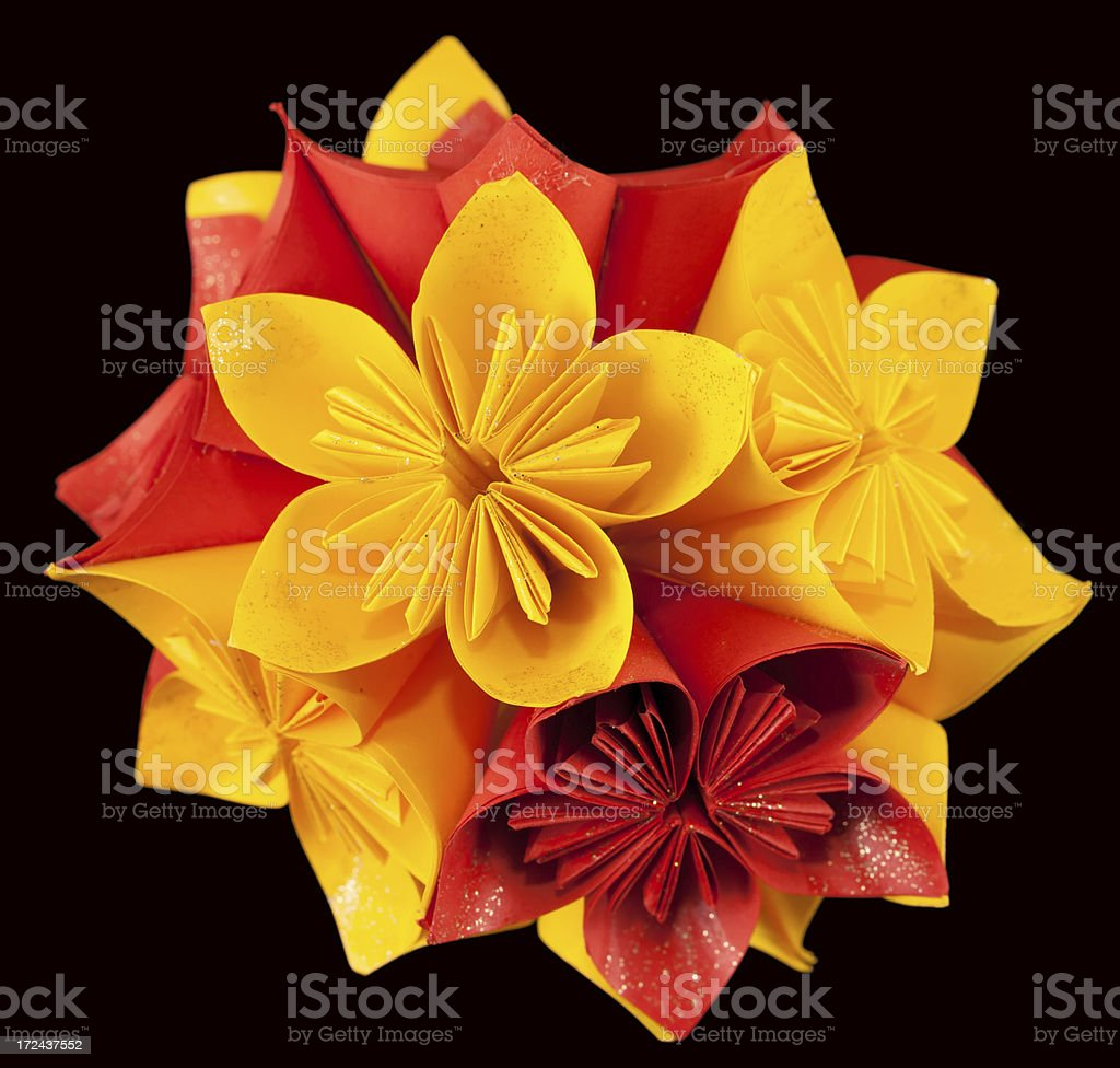 Red and yellow kusudama royalty-free stock photo