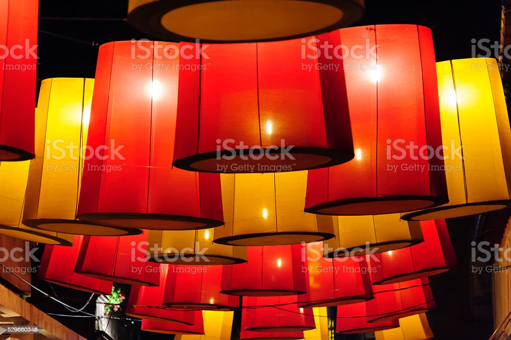 Red and yellow lanterns stock photo