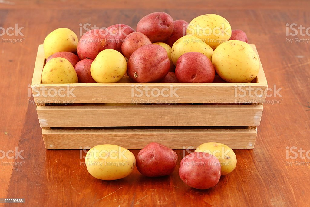 Red and yellow new potatoes stock photo