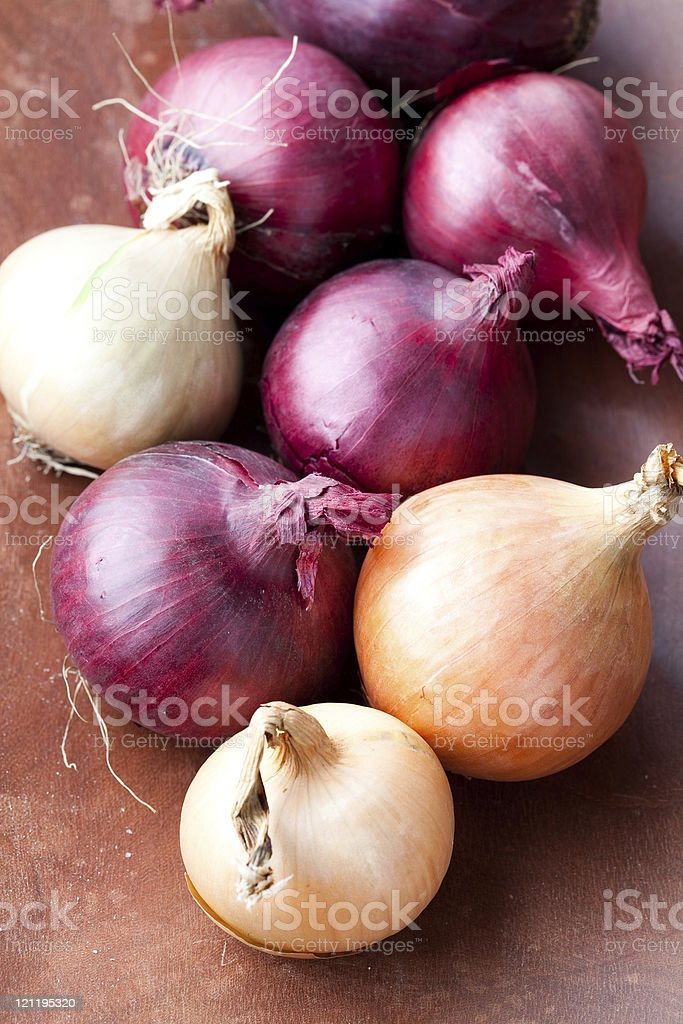 Red and yellow onions stock photo