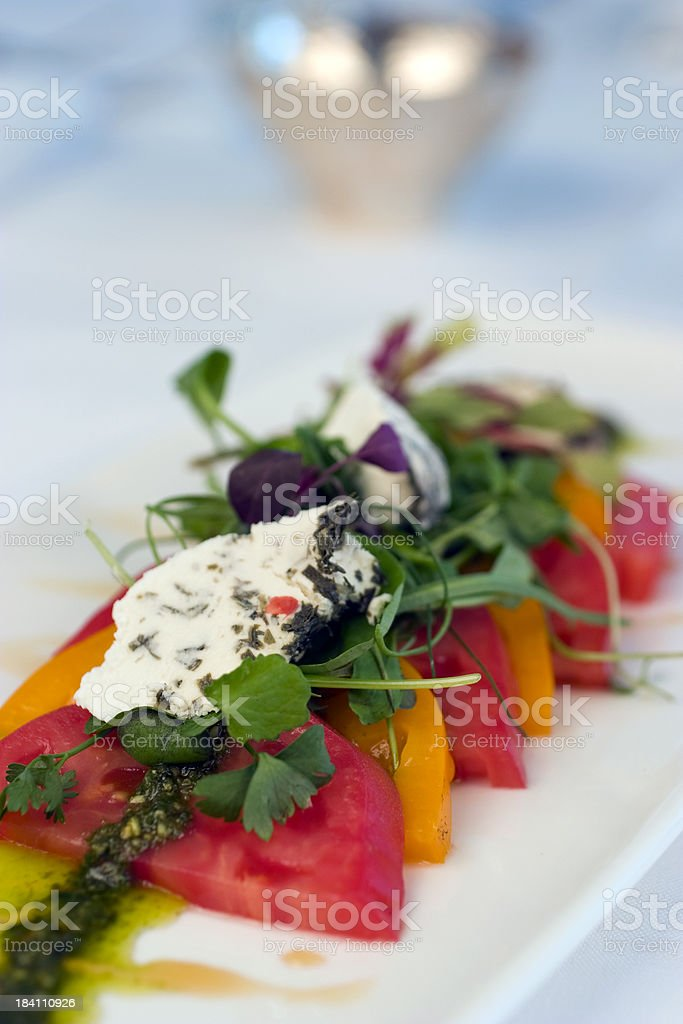 Red and Yellow Organic Tomato Salad royalty-free stock photo