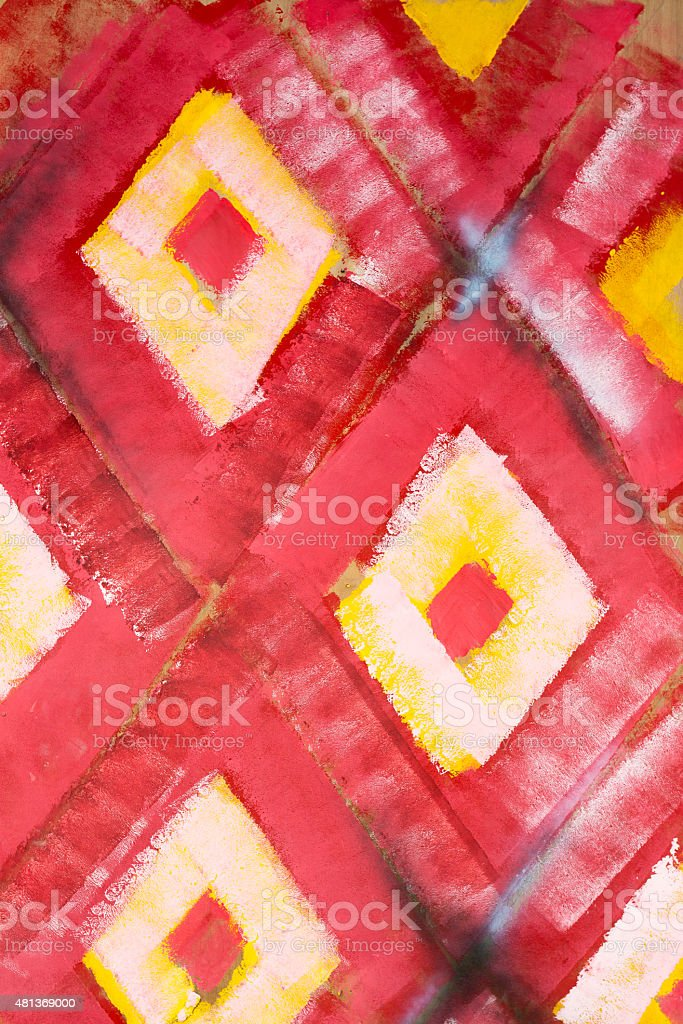 red and yellow paint on wooden board stock photo
