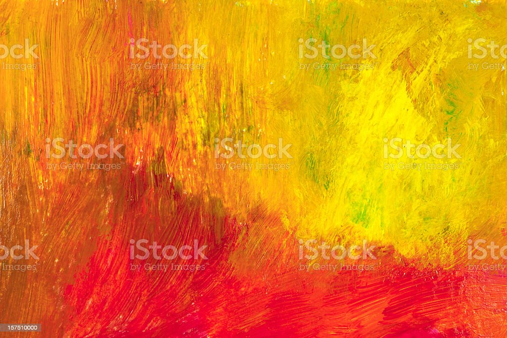 A red and yellow painted abstract background stock photo