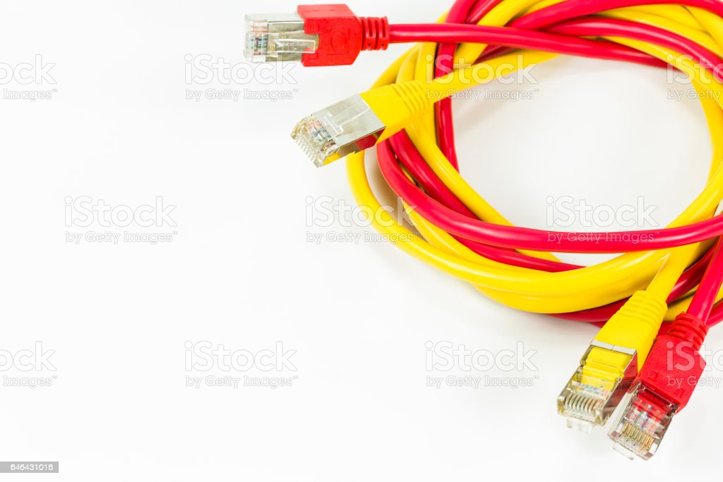 red and yellow patch cables with RJ45 connector stock photo