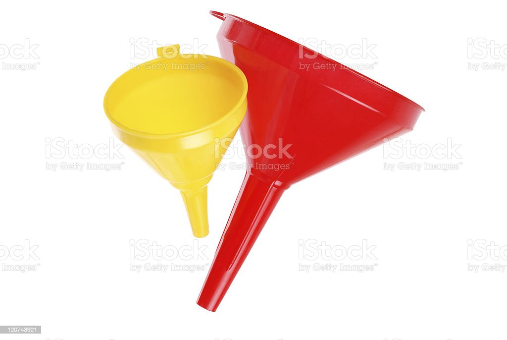 red and yellow plastic funnel on white royalty-free stock photo