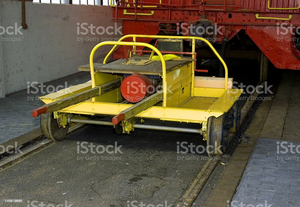 Red and Yellow Railroad Equipment royalty-free stock photo