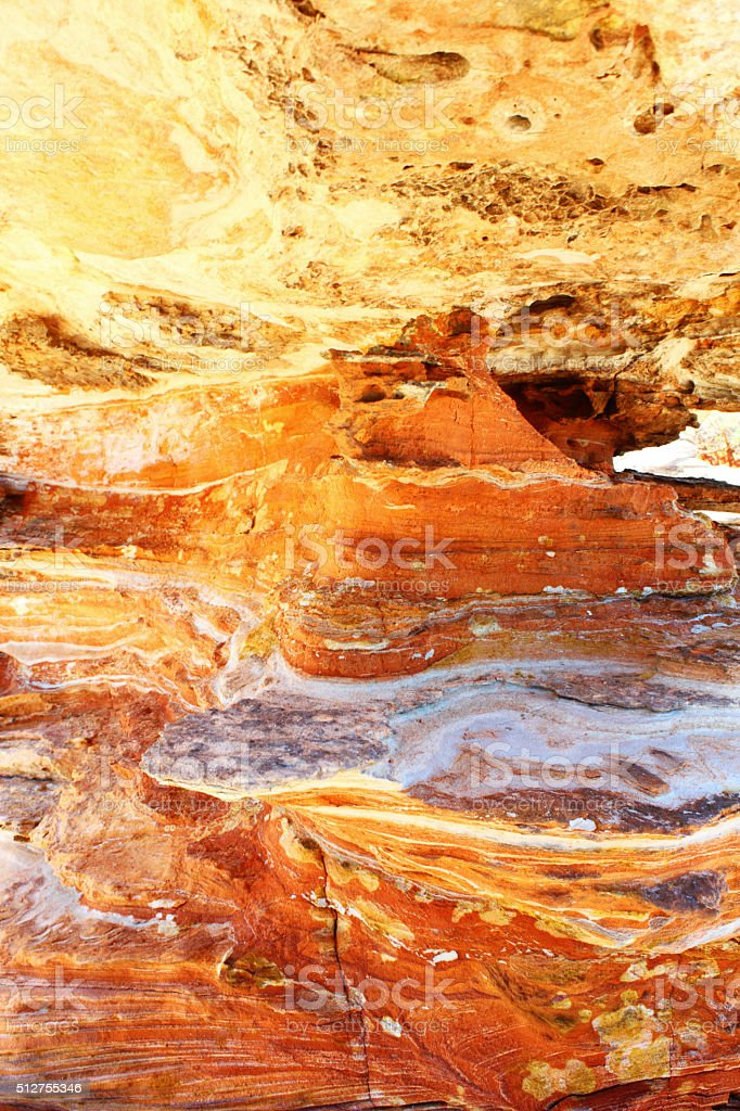 Red and Yellow Rock Layers and Minerals, Western Australia stock photo