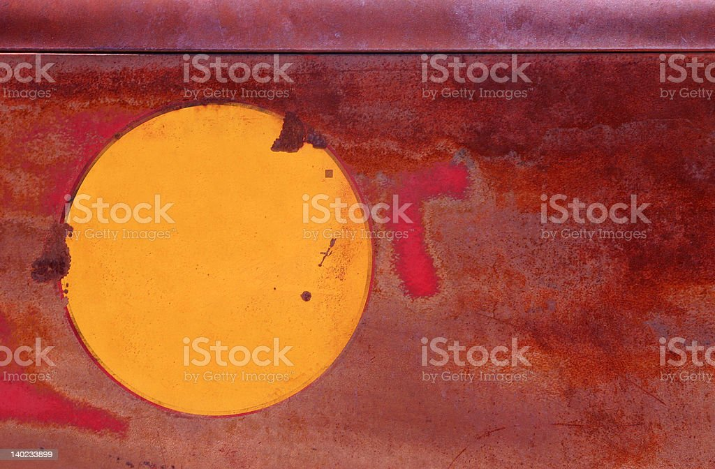 Red and yellow rusted metal royalty-free stock photo