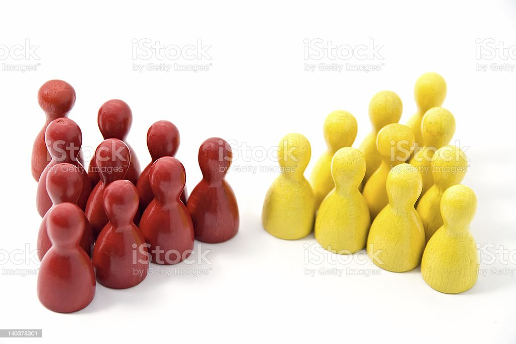 Red and Yellow Teams Meet royalty-free stock photo
