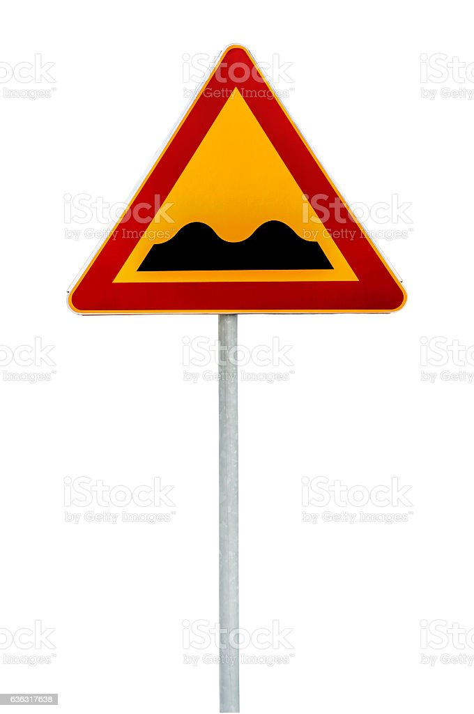 Red and yellow triangular warning sign bumpy road on rod stock photo