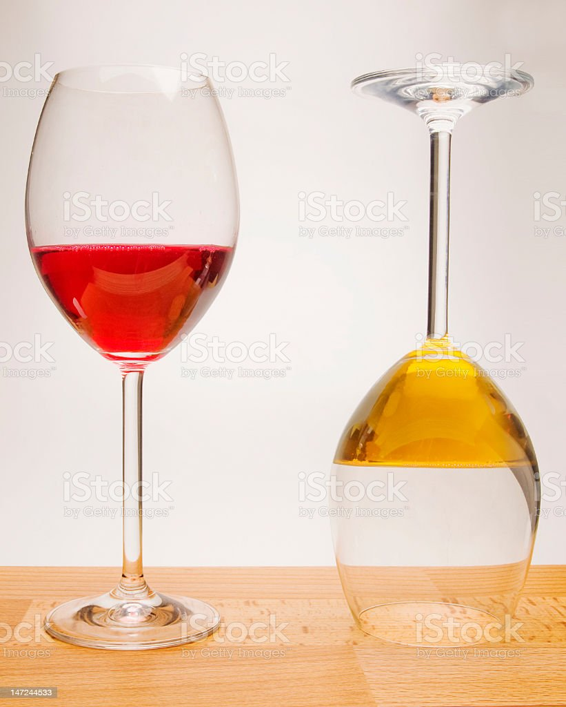 red and yellow wine glasses royalty-free stock photo